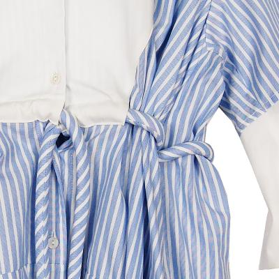 stripe frill dress skyblue